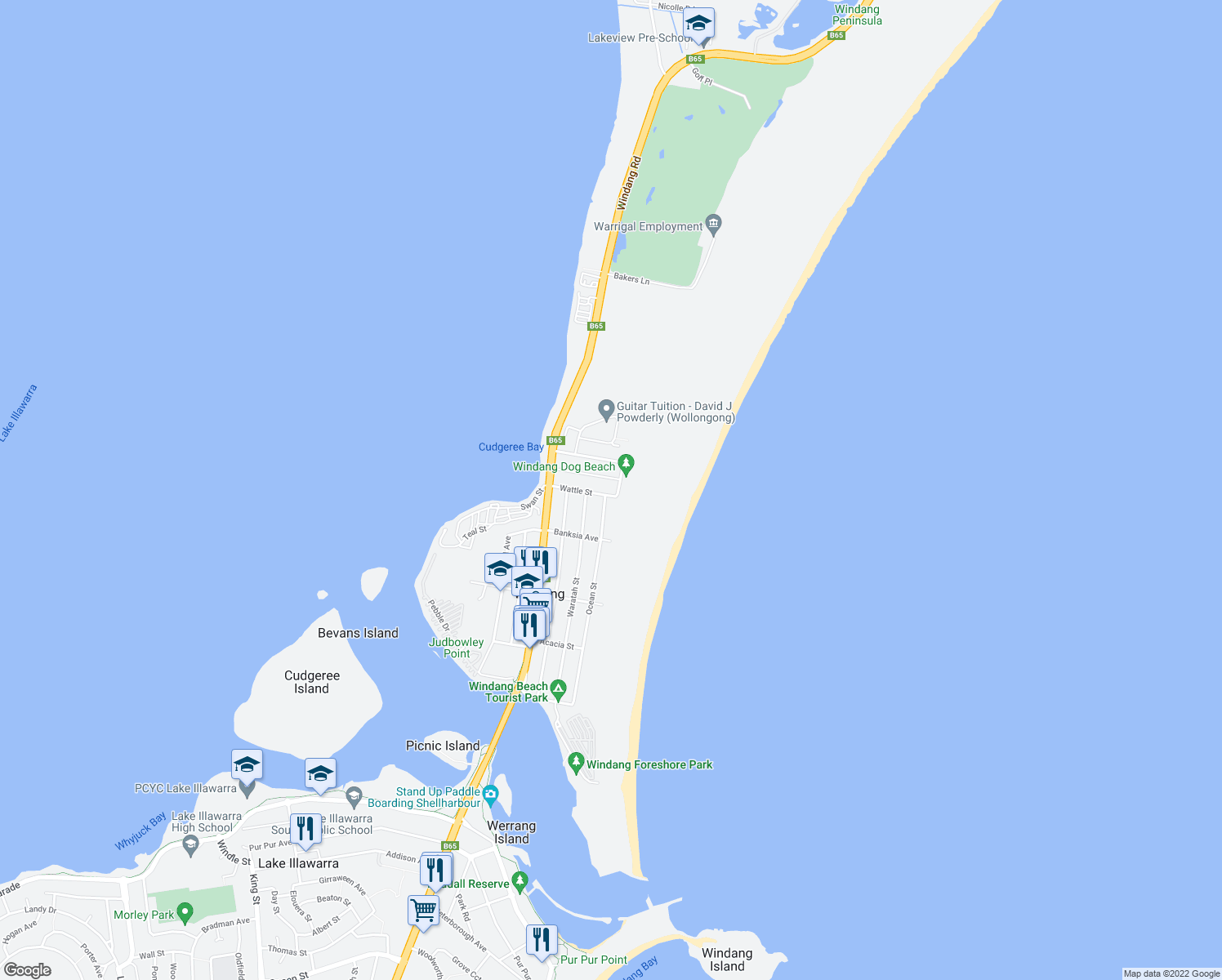 map of restaurants, bars, coffee shops, grocery stores, and more near 4 Wattle Street in Windang