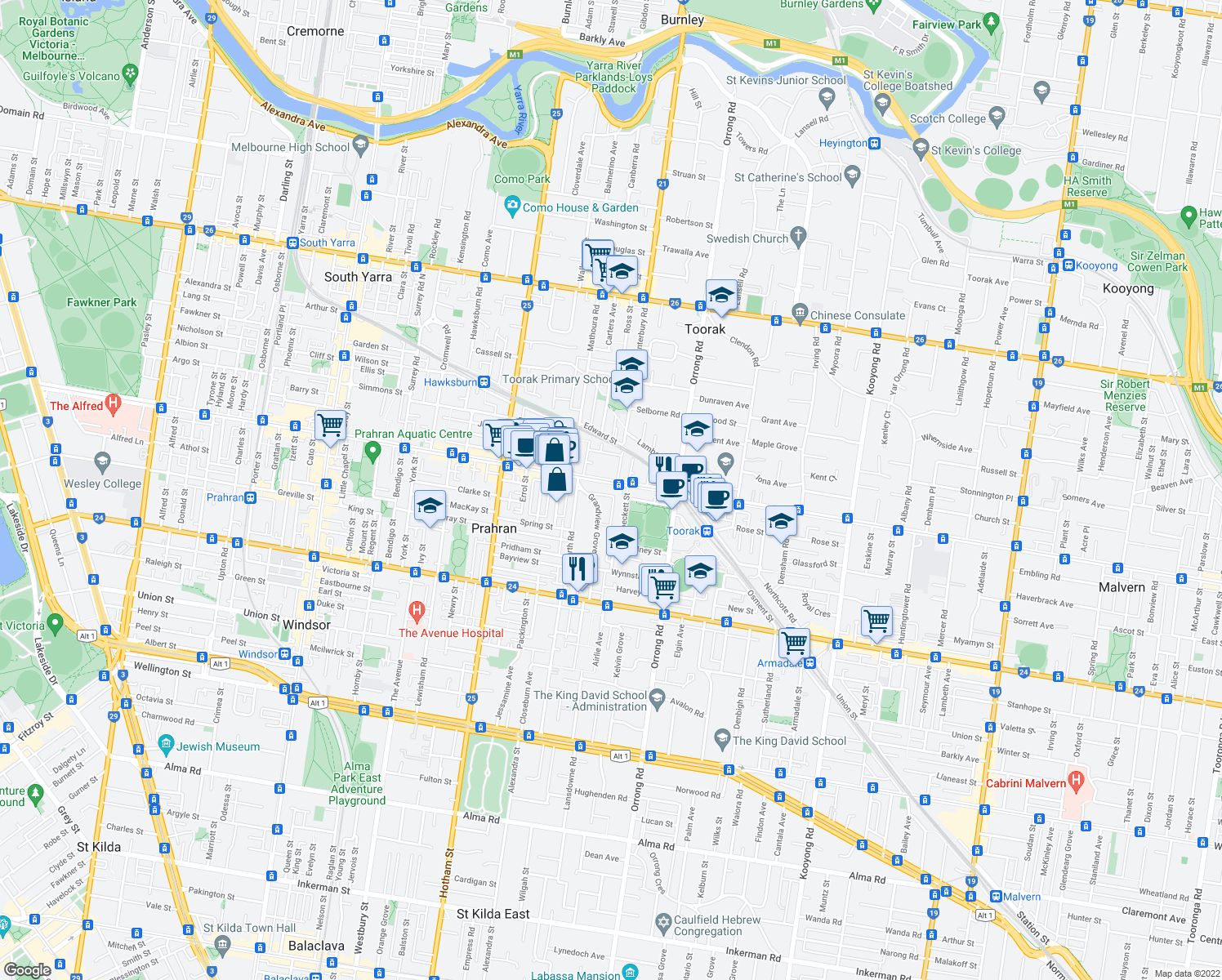 map of restaurants, bars, coffee shops, grocery stores, and more near 670 Malvern Road in Prahran