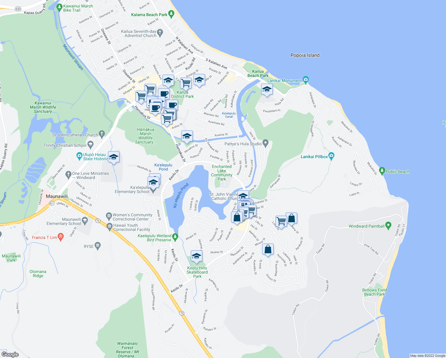 map of restaurants, bars, coffee shops, grocery stores, and more near 770 Keolu Drive in Kailua