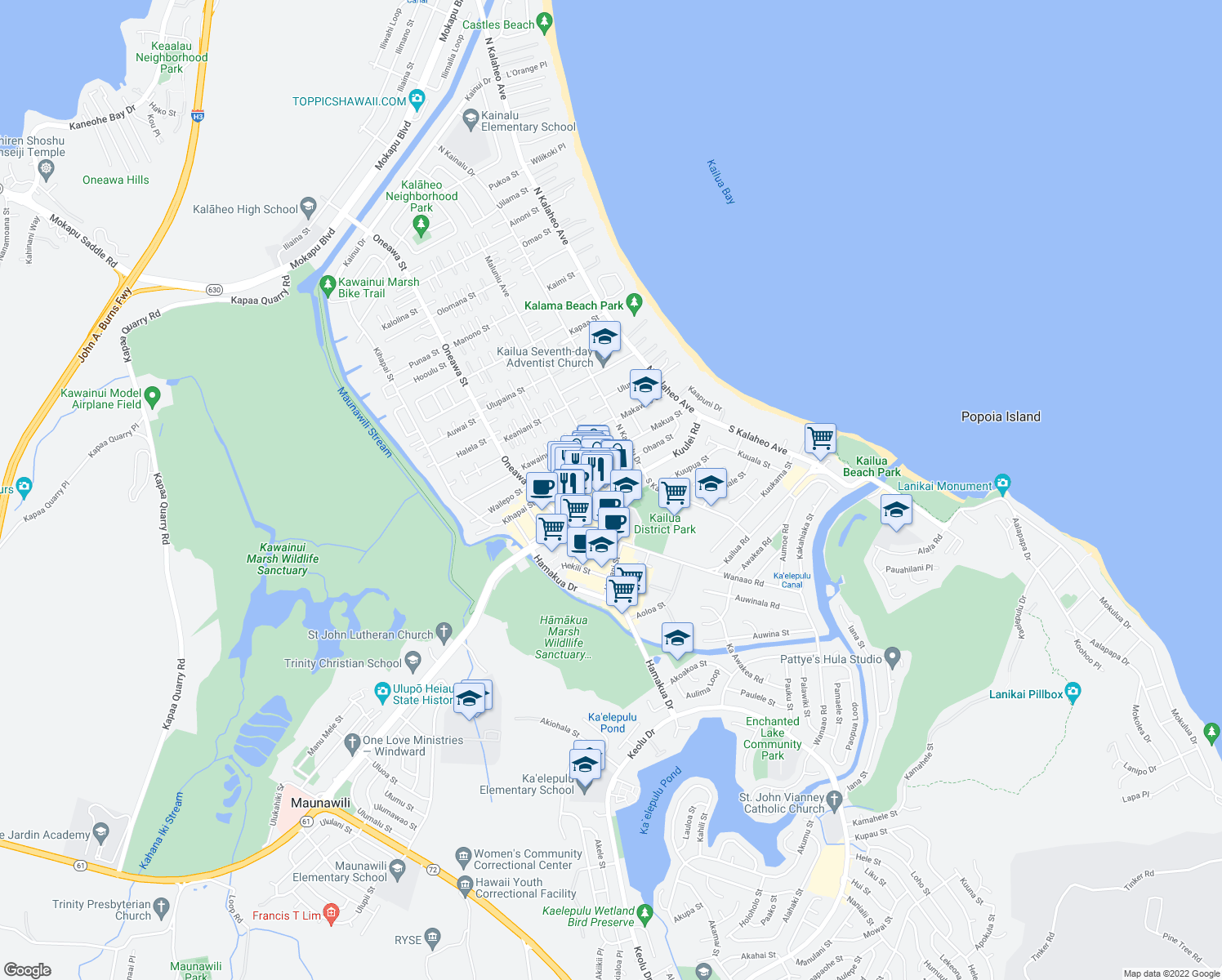 map of restaurants, bars, coffee shops, grocery stores, and more near Kuulei Rd & Maluniu Ave in Kailua