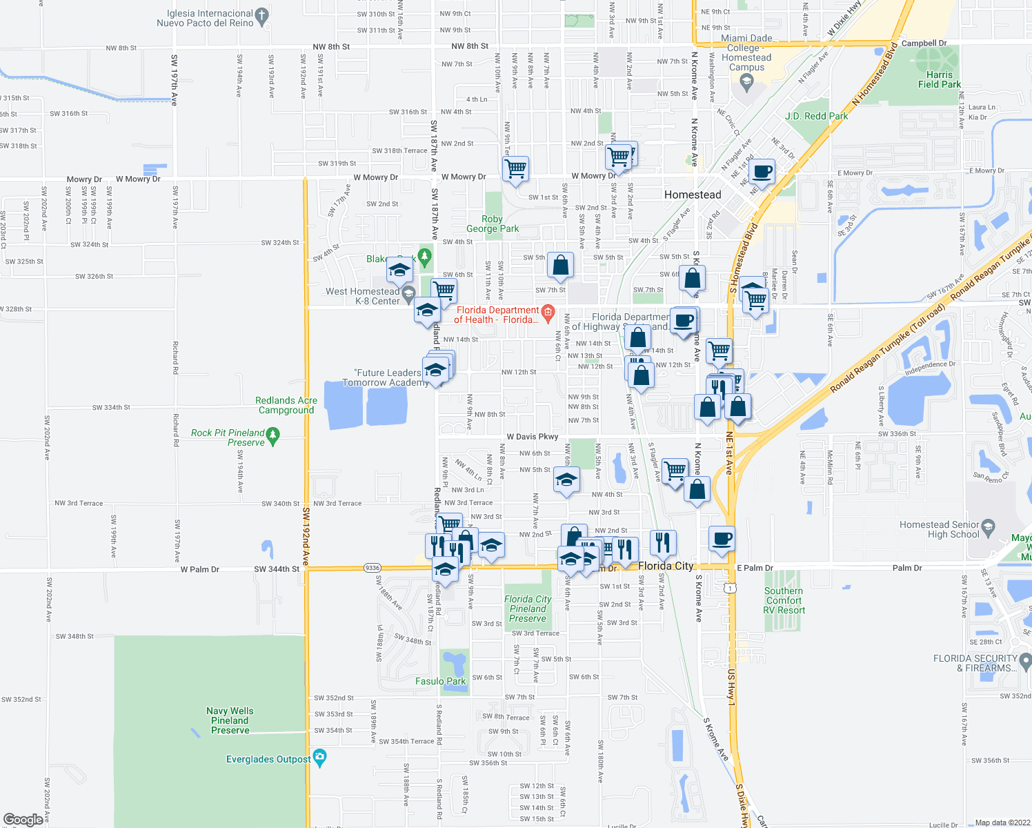 map of restaurants, bars, coffee shops, grocery stores, and more near 754-798 Northwest 8th Street in Florida City