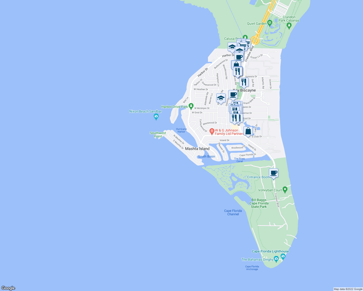 map of restaurants, bars, coffee shops, grocery stores, and more near 611 S Mashta Dr in Key Biscayne