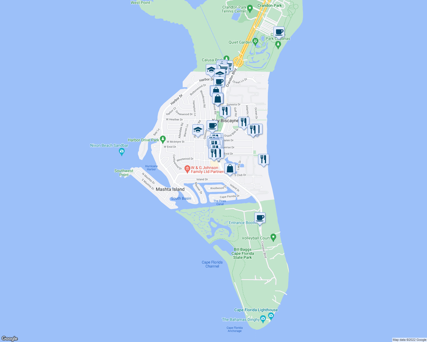 map of restaurants, bars, coffee shops, grocery stores, and more near 785 Fernwood Road in Key Biscayne