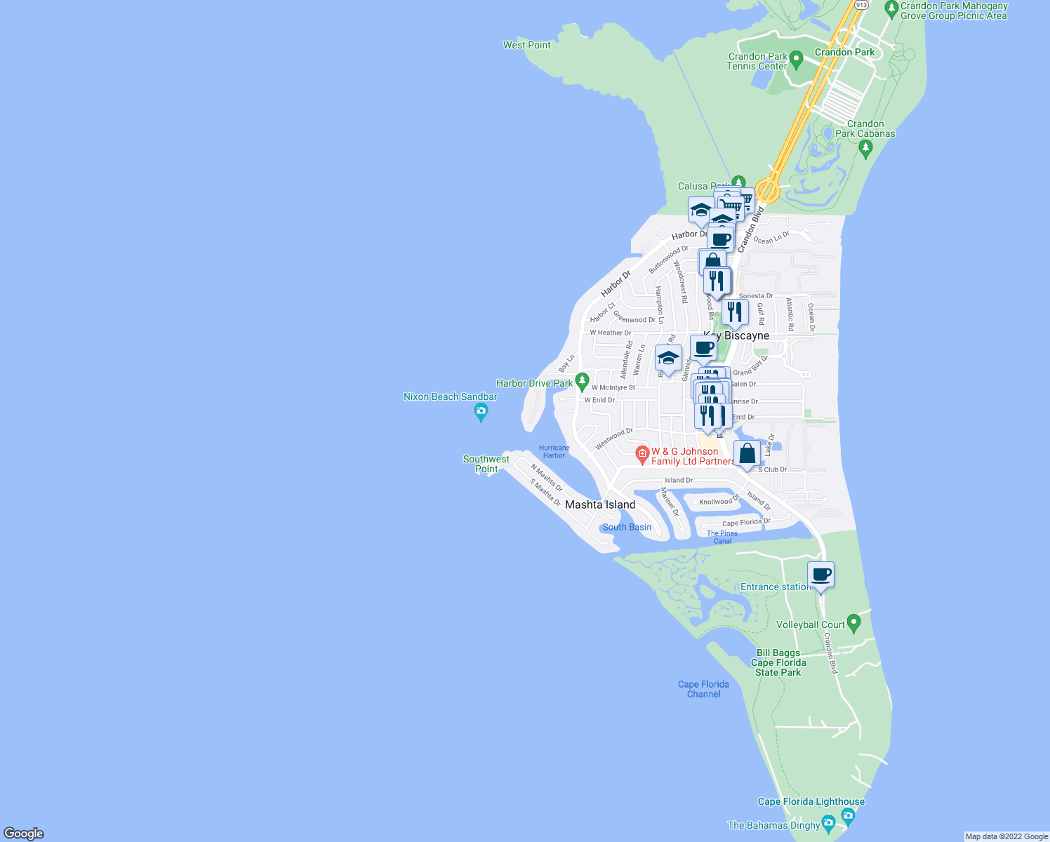map of restaurants, bars, coffee shops, grocery stores, and more near 22 Harbor Point in Key Biscayne