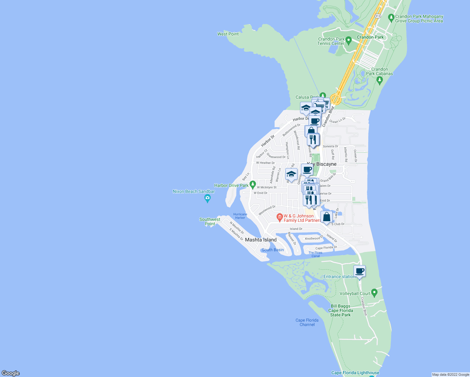 map of restaurants, bars, coffee shops, grocery stores, and more near 28 Harbor Point in Key Biscayne