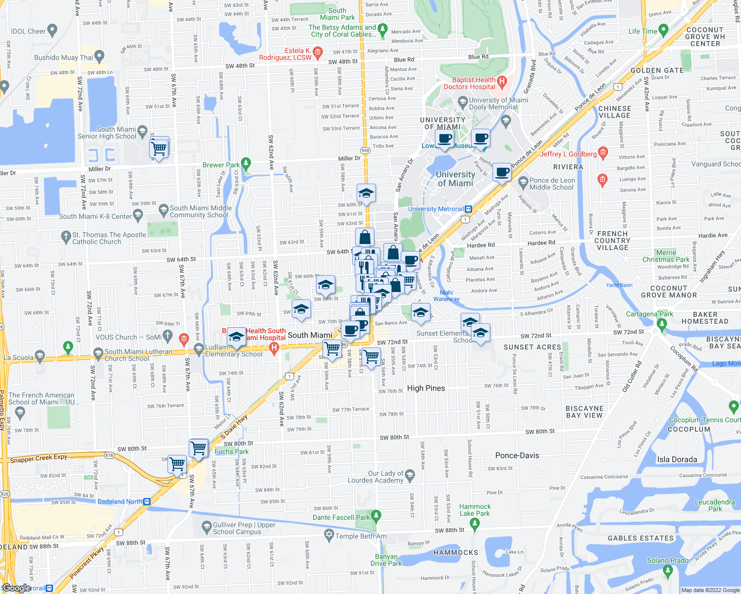 map of restaurants, bars, coffee shops, grocery stores, and more near 5737 SW 68th St in South Miami