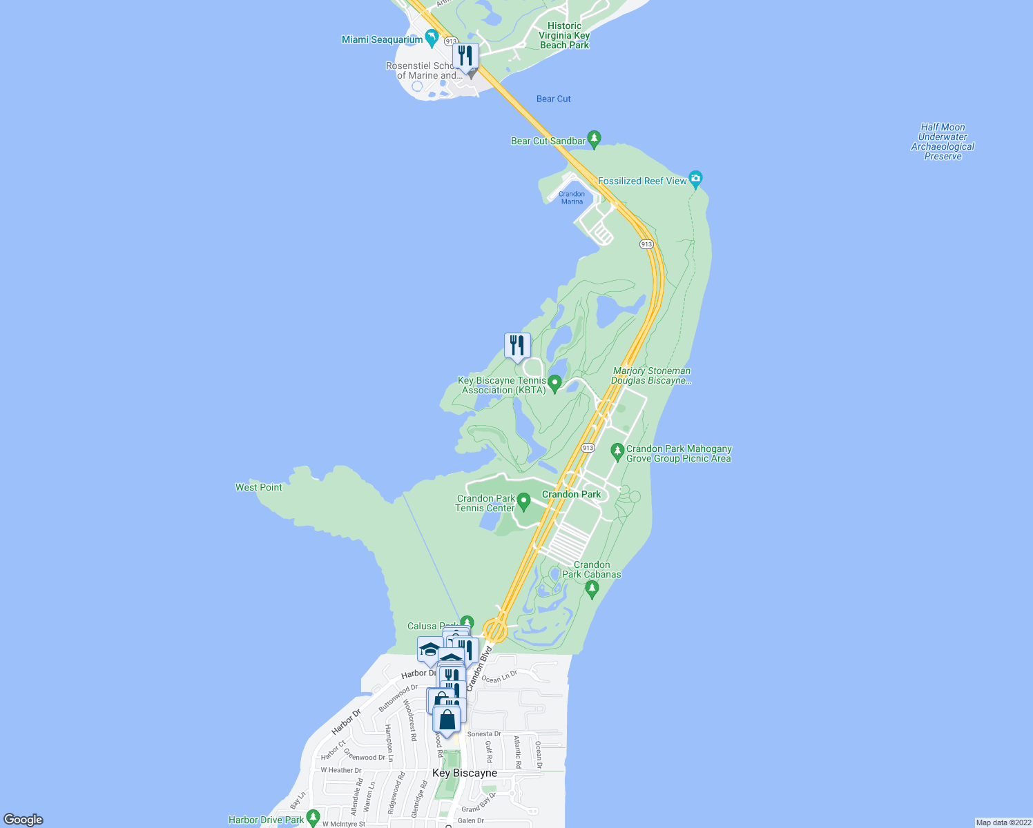 map of restaurants, bars, coffee shops, grocery stores, and more near in Key Biscayne