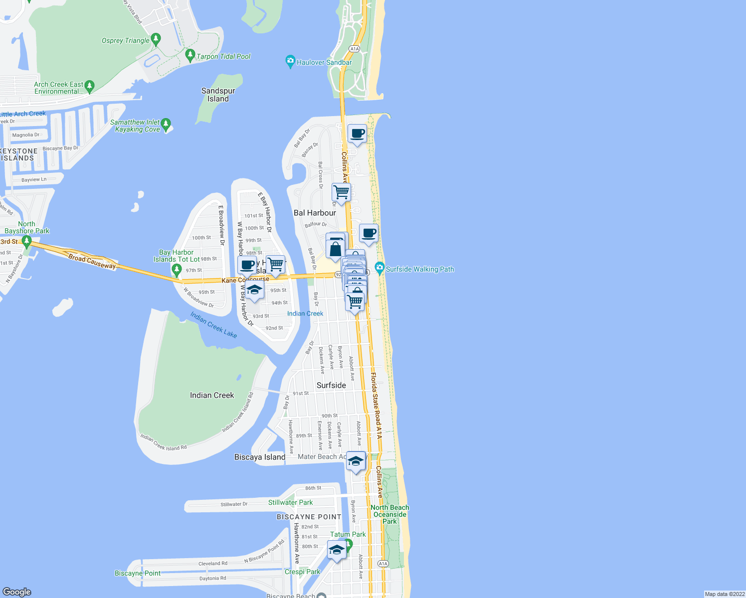map of restaurants, bars, coffee shops, grocery stores, and more near 9499 Collins Avenue in Surfside