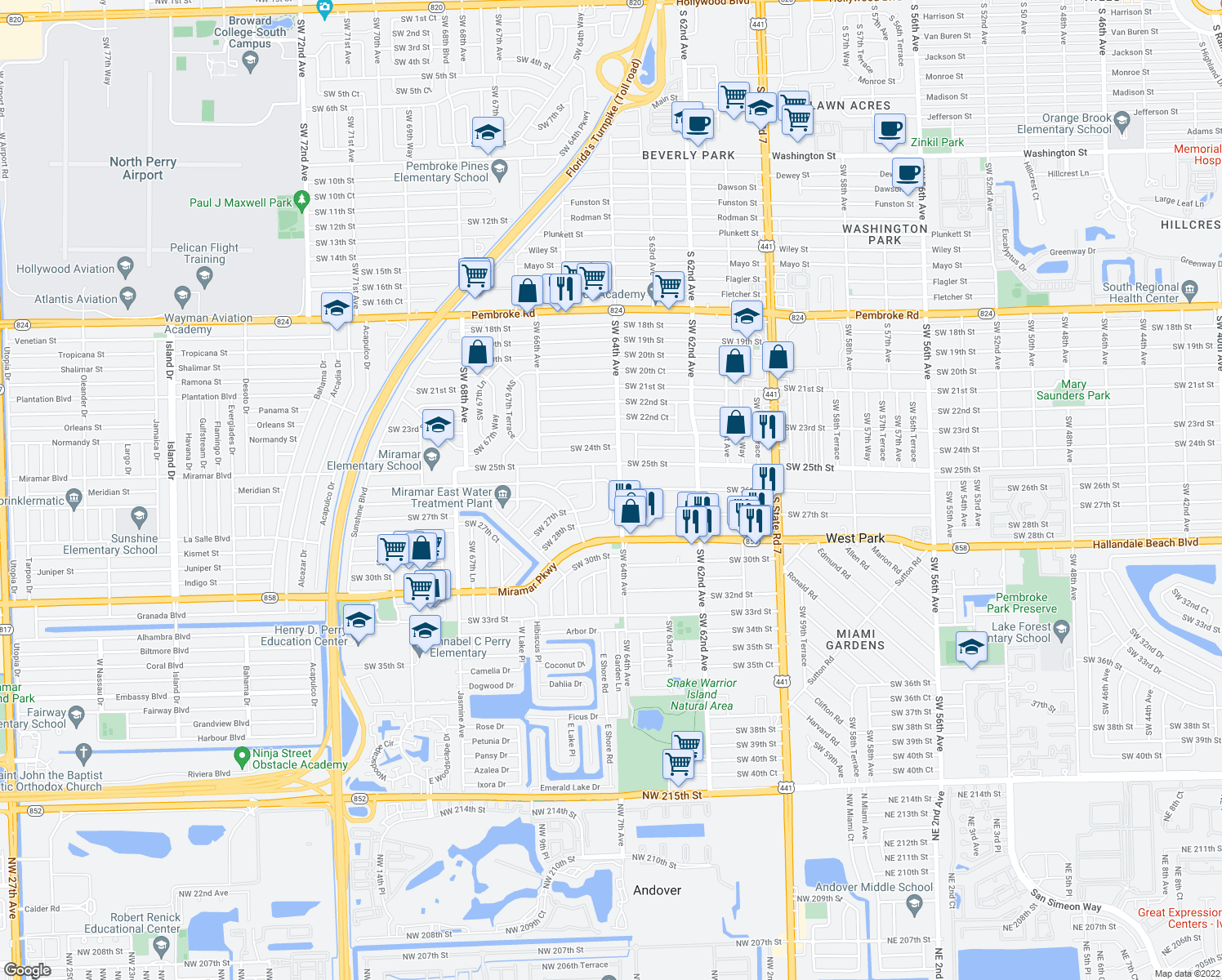 map of restaurants, bars, coffee shops, grocery stores, and more near in Pembroke Pines