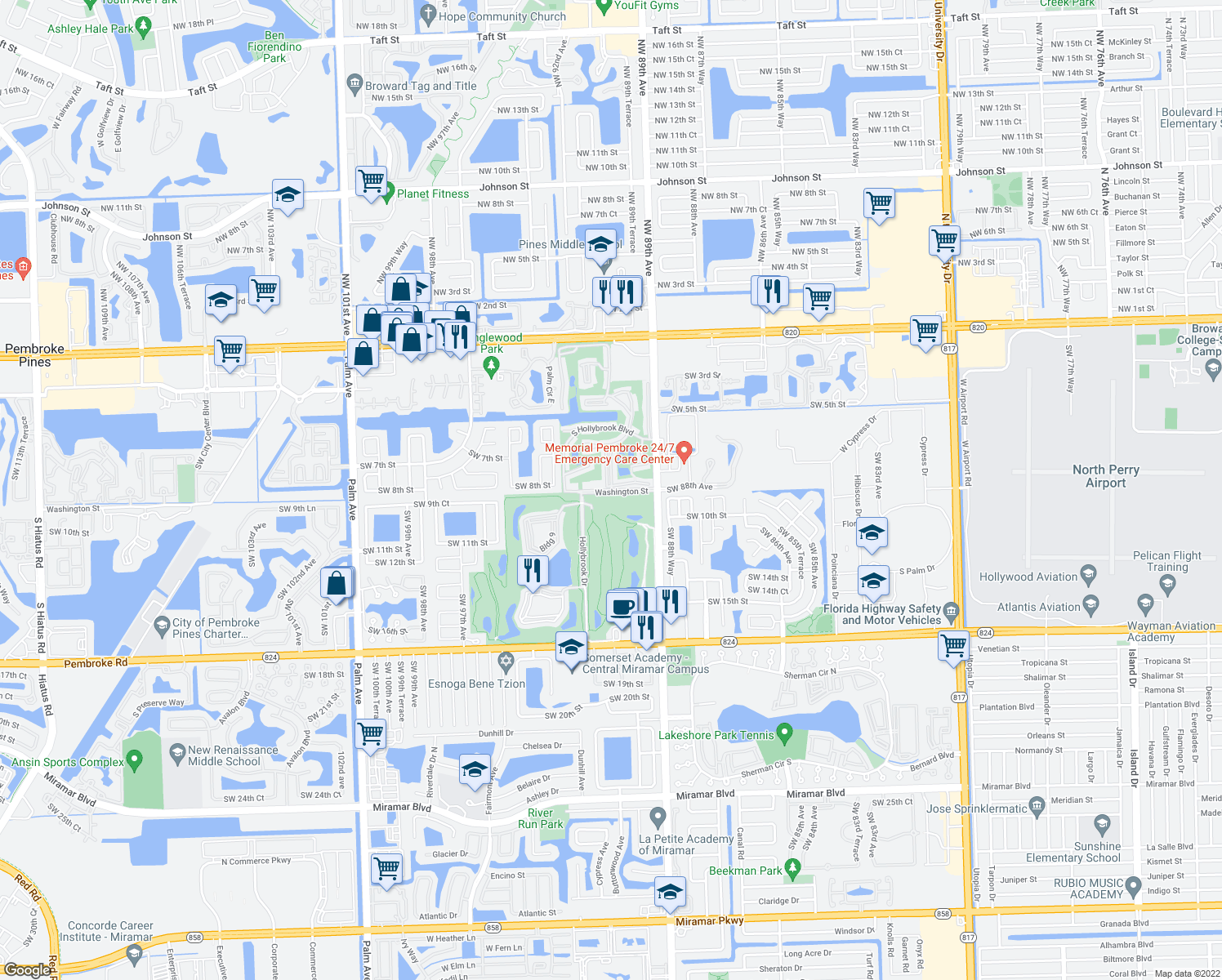 map of restaurants, bars, coffee shops, grocery stores, and more near 900 Hollybrook Dr in Pembroke Pines