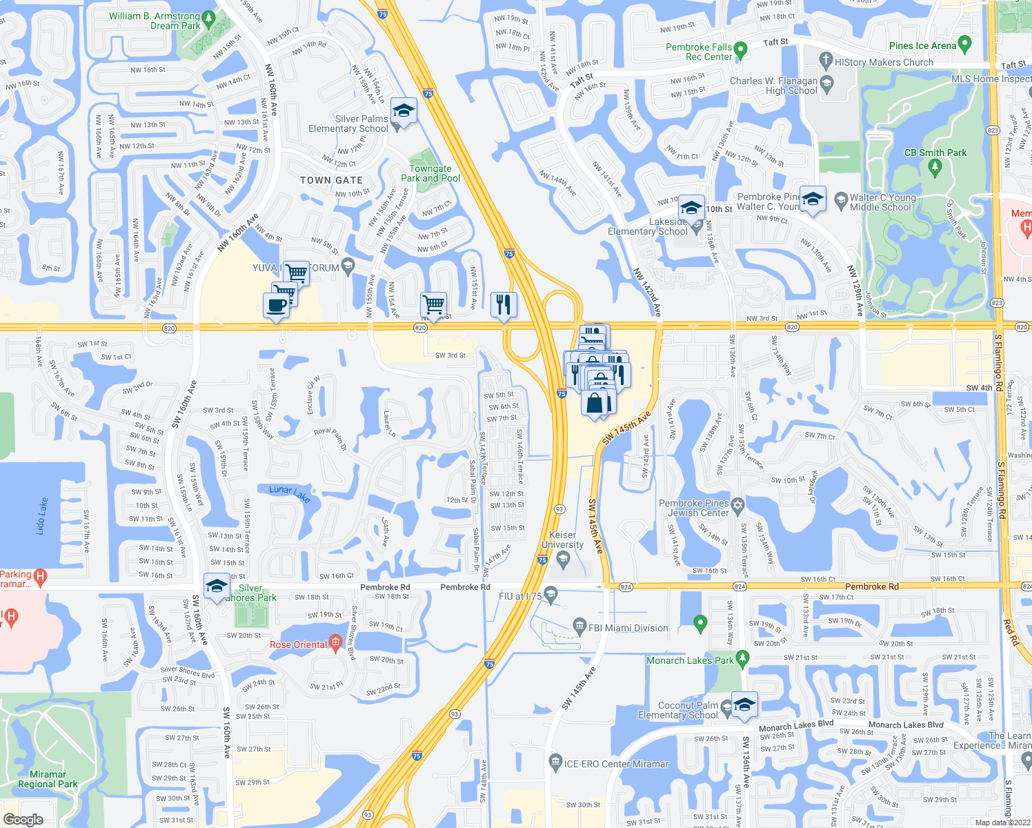 map of restaurants, bars, coffee shops, grocery stores, and more near 14621 SW 7th St in Pembroke Pines
