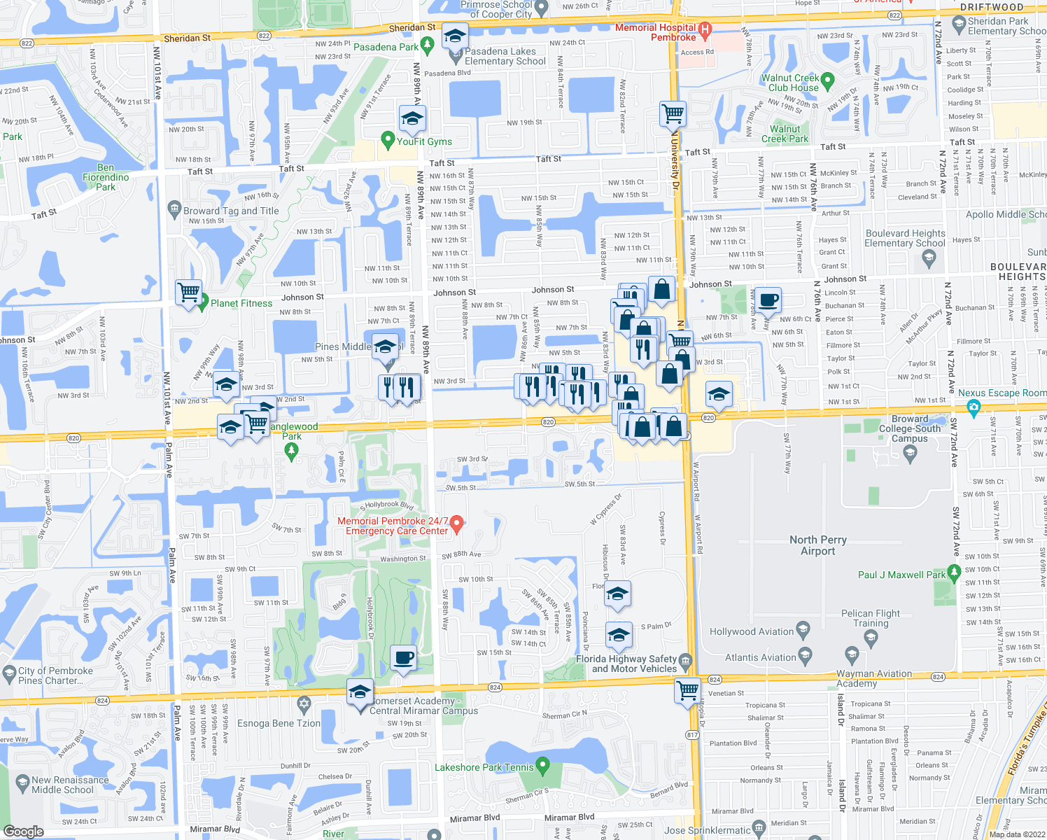 map of restaurants, bars, coffee shops, grocery stores, and more near Pines Blvd & NW 86th Ave in Pembroke Pines