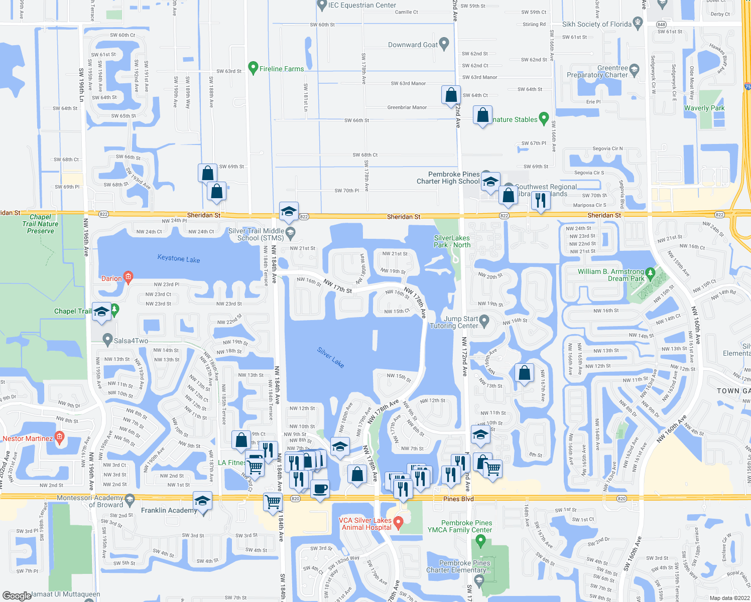 map of restaurants, bars, coffee shops, grocery stores, and more near 17390-17998 Northwest 17th Street in Pembroke Pines