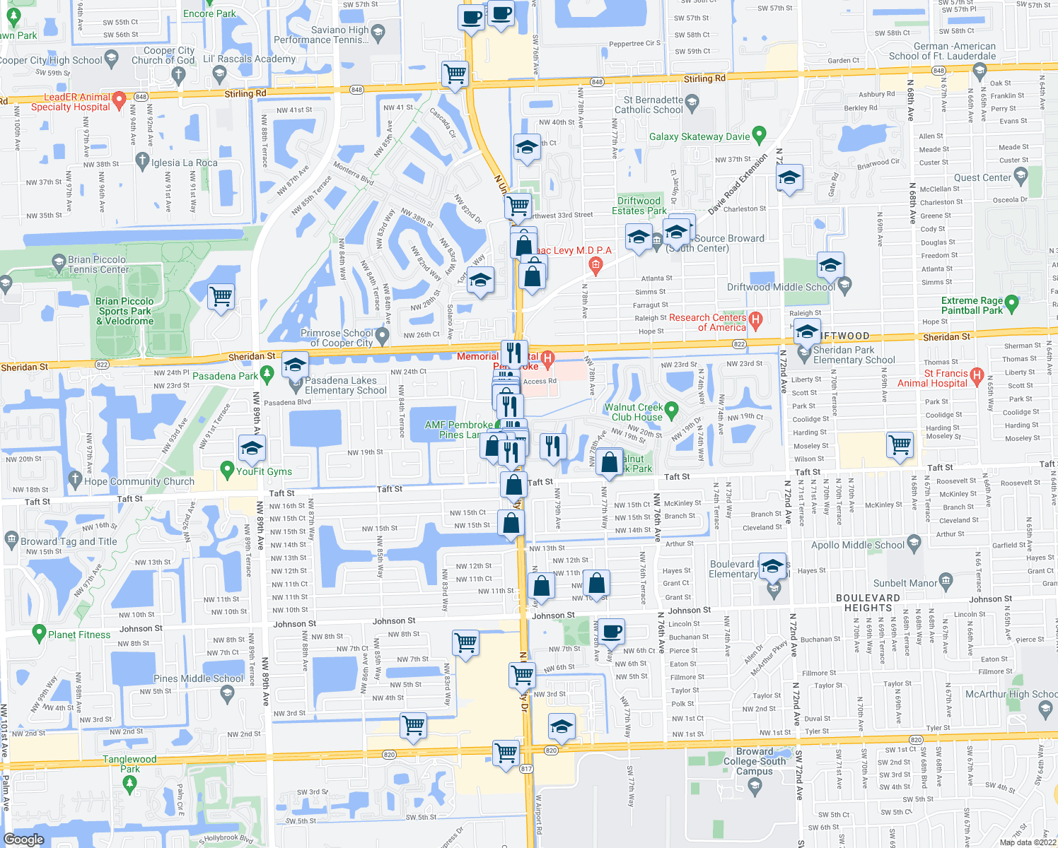 map of restaurants, bars, coffee shops, grocery stores, and more near 1955-2059 State Highway 817 in Pembroke Pines