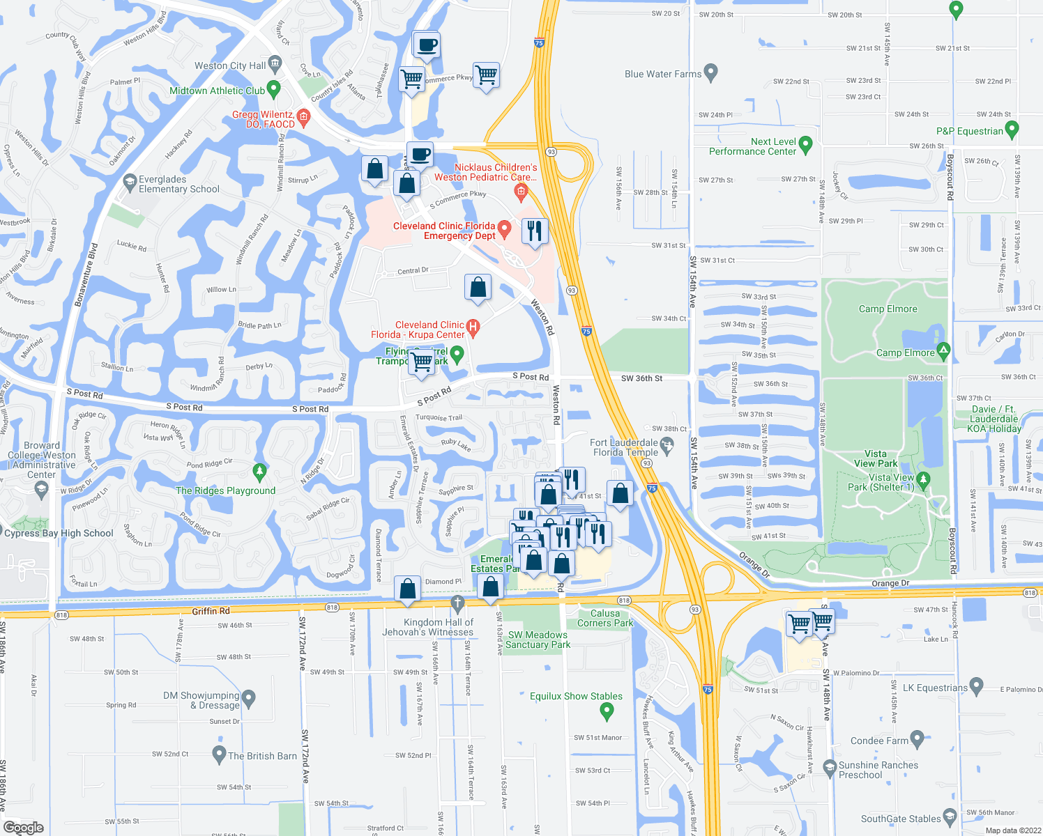 map of restaurants, bars, coffee shops, grocery stores, and more near 16223-16225 Emerald Cove Road in Weston