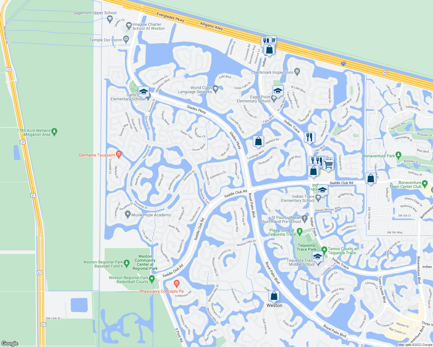 map of restaurants, bars, coffee shops, grocery stores, and more near 1261 Allamanda Way in Weston