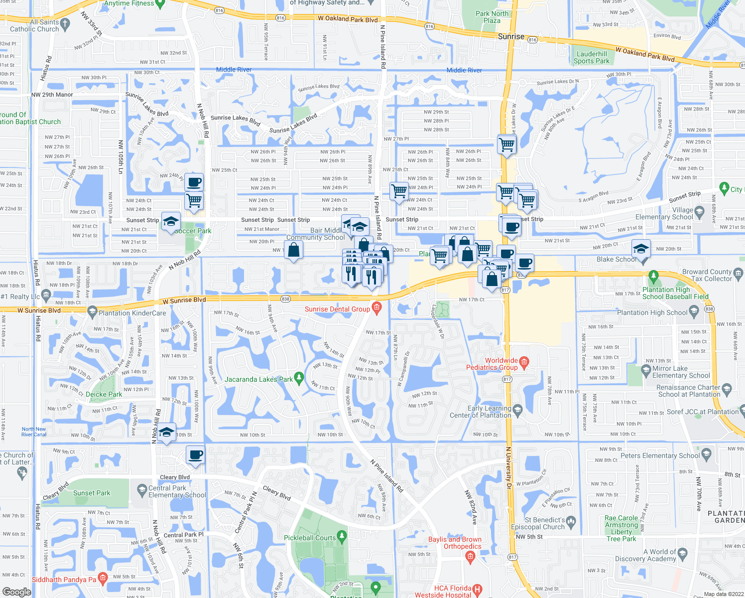map of restaurants, bars, coffee shops, grocery stores, and more near W Sunrise Blvd & Pine Island Rd in Plantation