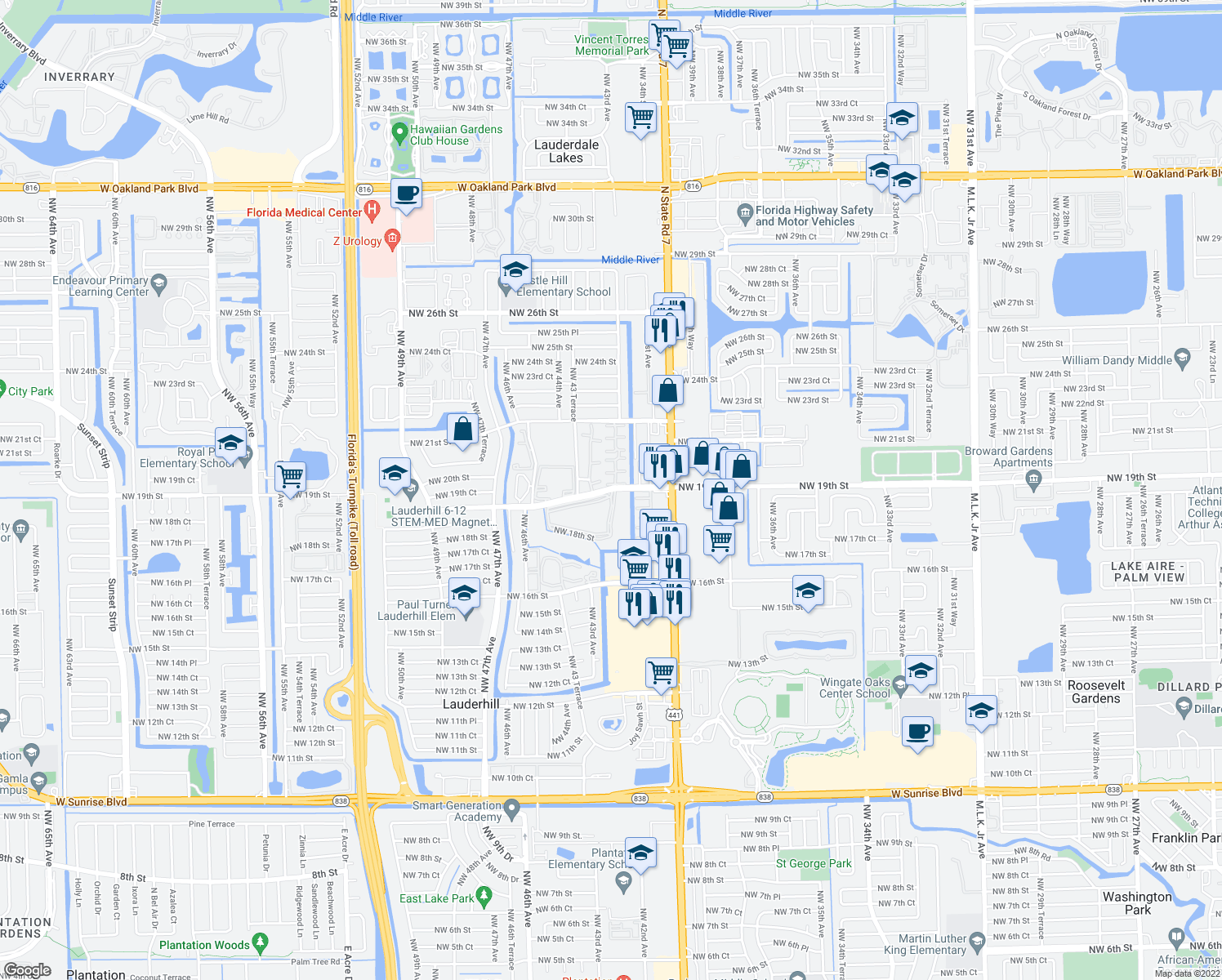map of restaurants, bars, coffee shops, grocery stores, and more near 4231 NW 19th St in Lauderhill
