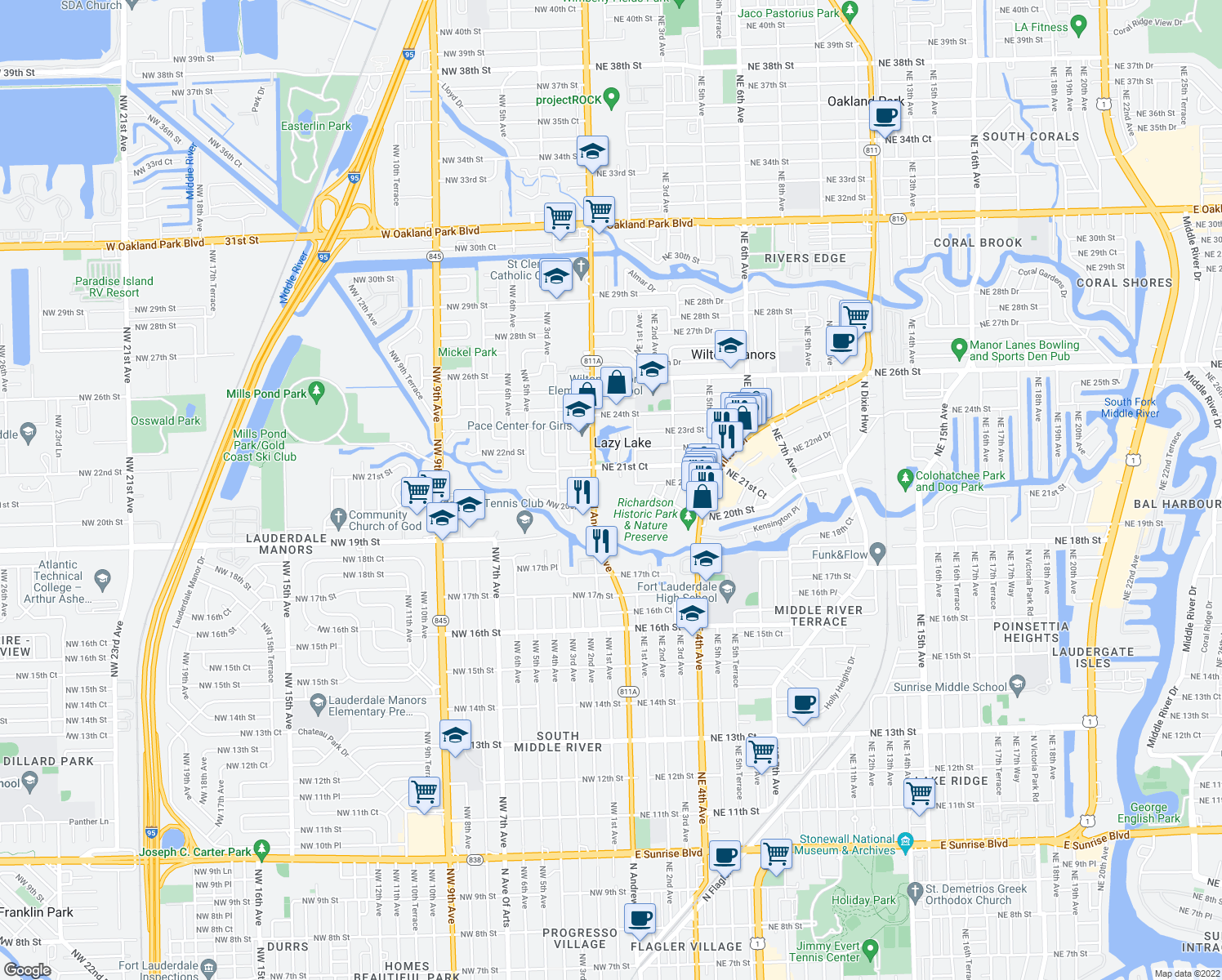map of restaurants, bars, coffee shops, grocery stores, and more near 39 NE 20th Ct in Fort Lauderdale