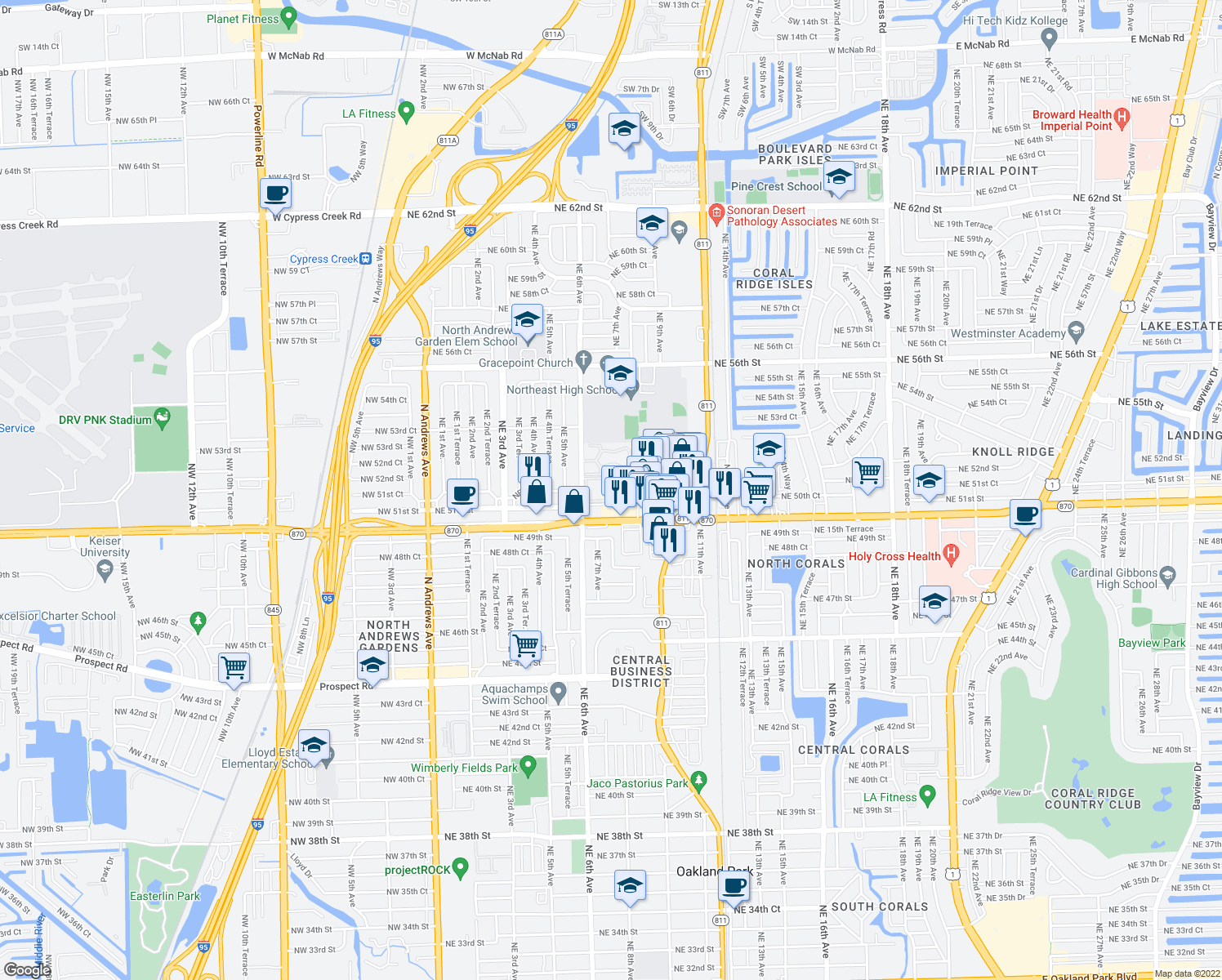 map of restaurants, bars, coffee shops, grocery stores, and more near 5156 Northeast 6th Avenue in Oakland Park