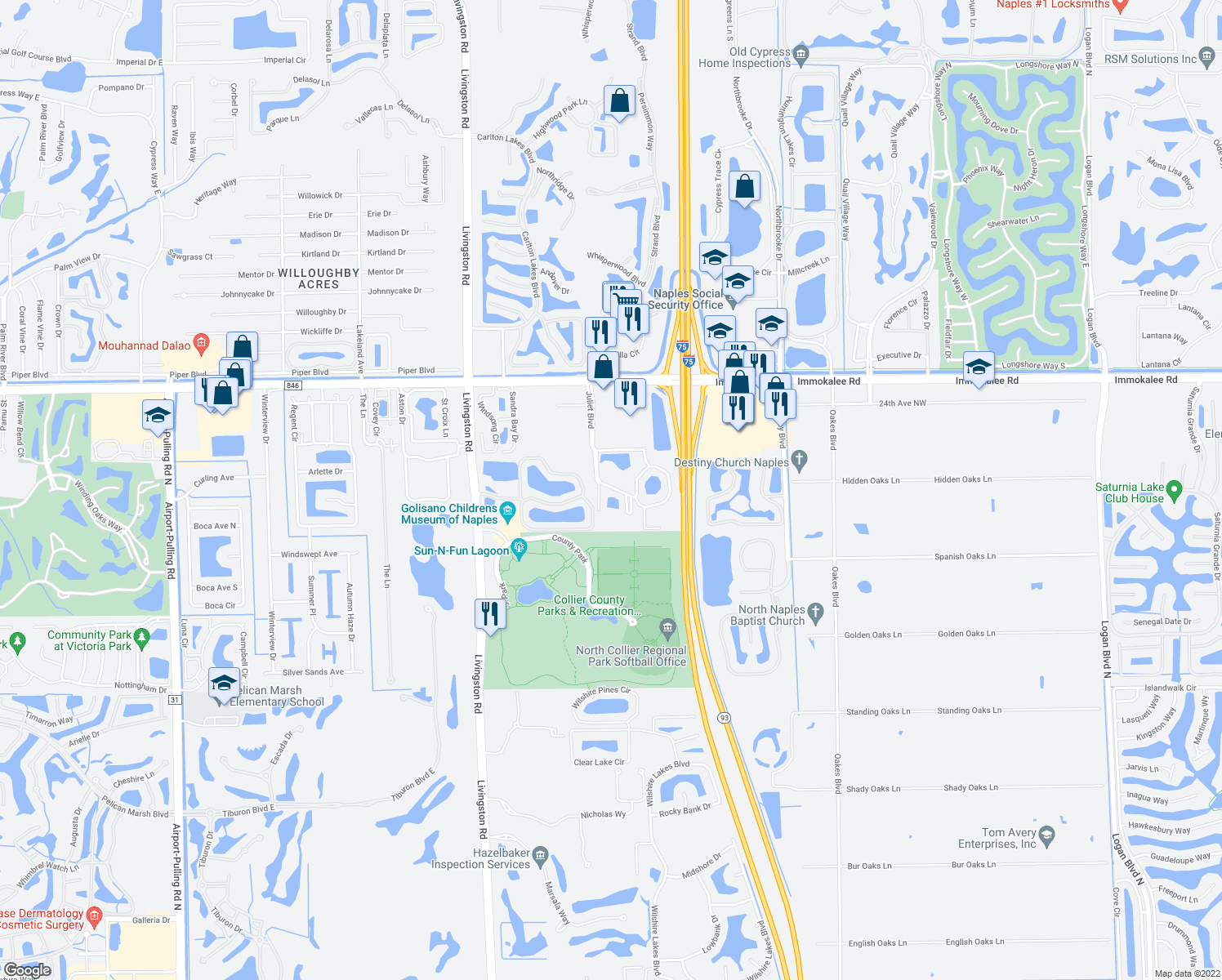map of restaurants, bars, coffee shops, grocery stores, and more near 5560 Jonquil Lane in Naples