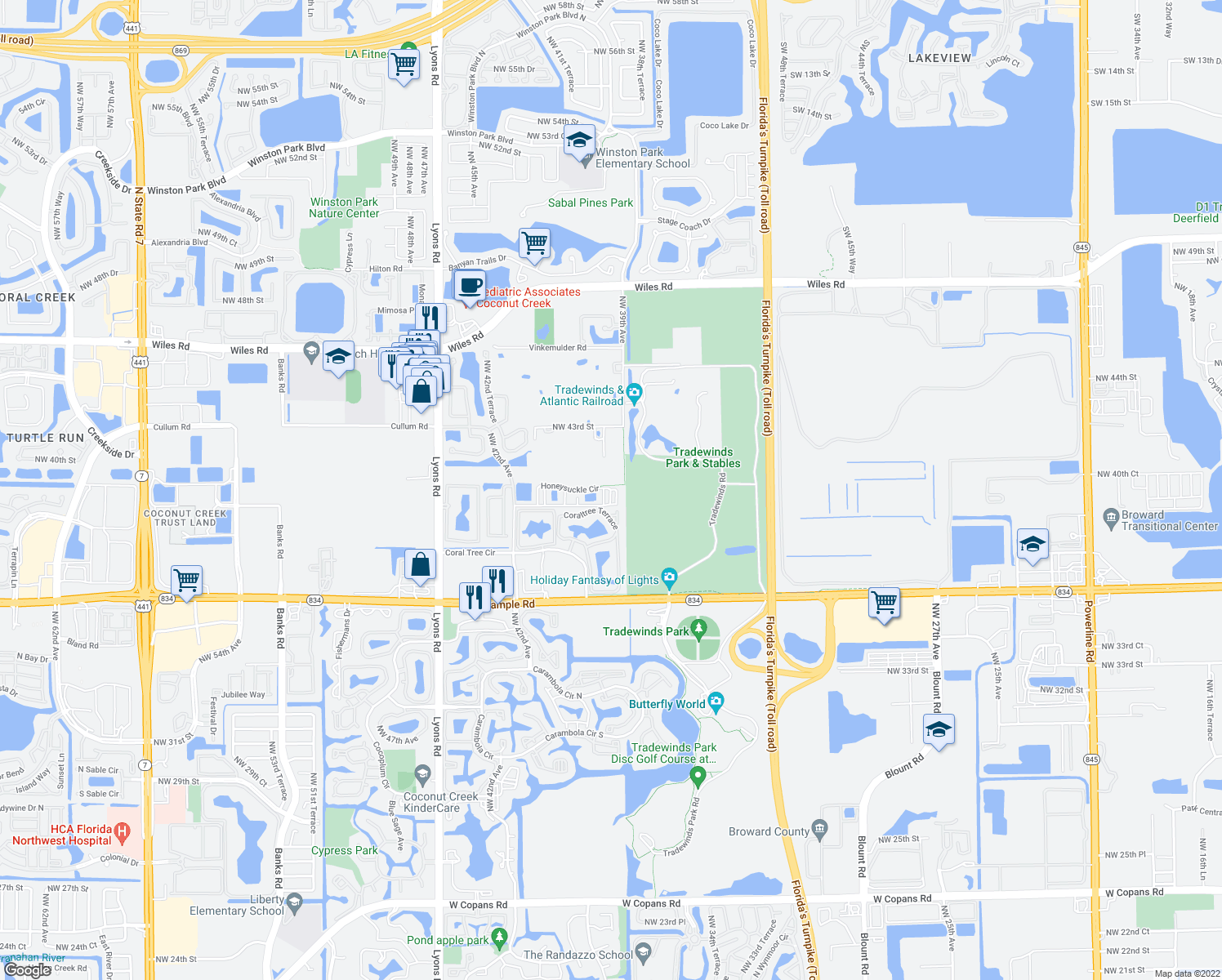 map of restaurants, bars, coffee shops, grocery stores, and more near 3930 Sleepy Orange Lane in Coconut Creek