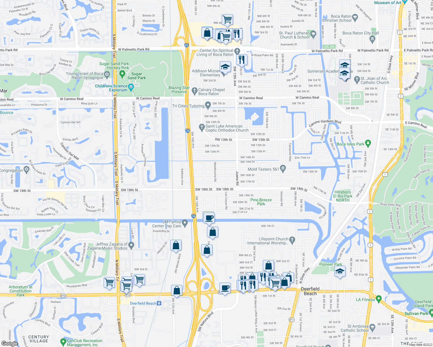 map of restaurants, bars, coffee shops, grocery stores, and more near 1399 SW 16th St in Boca Raton