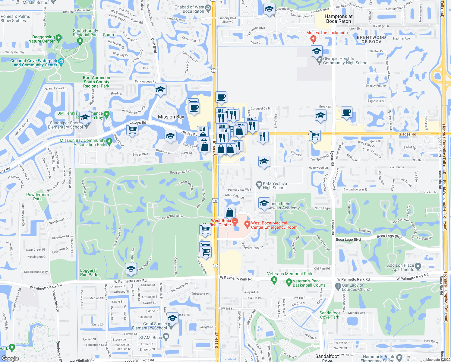 map of restaurants, bars, coffee shops, grocery stores, and more near Palma Vista Way in Boca Raton
