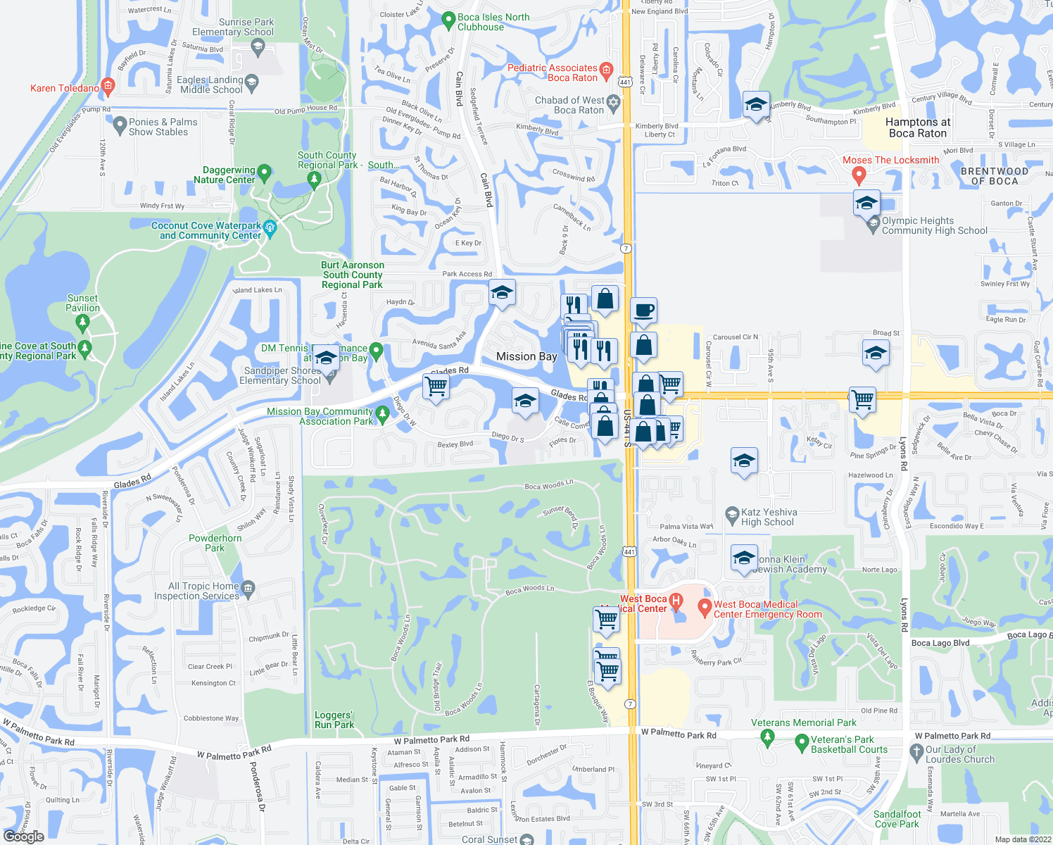 map of restaurants, bars, coffee shops, grocery stores, and more near 10333 Diego Drive South in Boca Raton