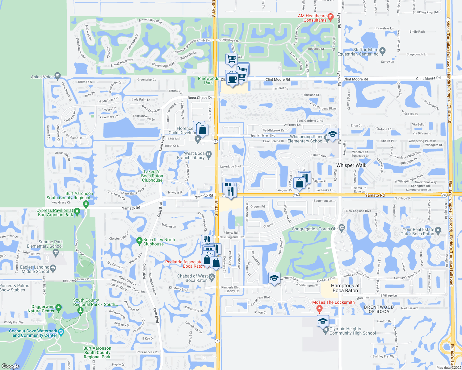 map of restaurants, bars, coffee shops, grocery stores, and more near Cloud Lake Circle in Boca Raton