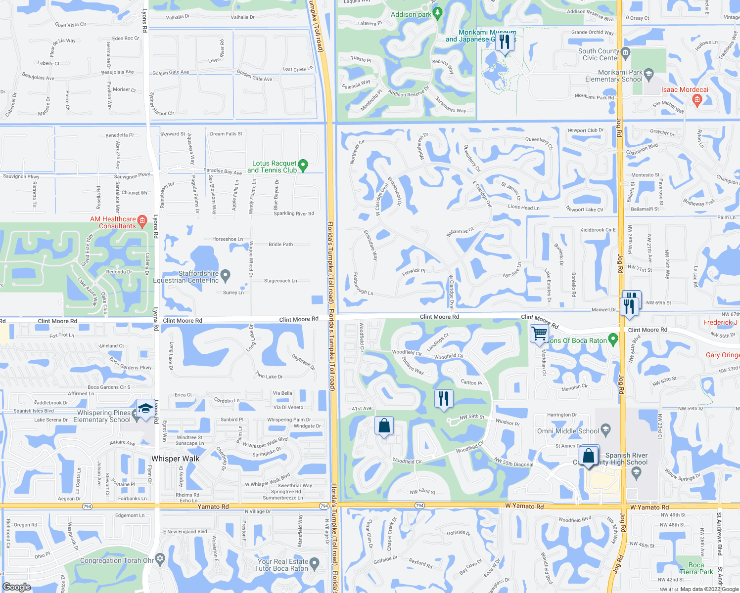 map of restaurants, bars, coffee shops, grocery stores, and more near 17747 Foxborough Ln in Boca Raton