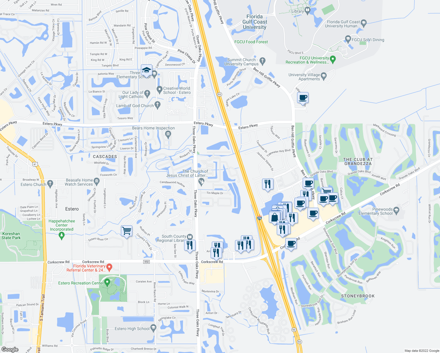 map of restaurants, bars, coffee shops, grocery stores, and more near 20261 Estero Gardens Circle in Estero