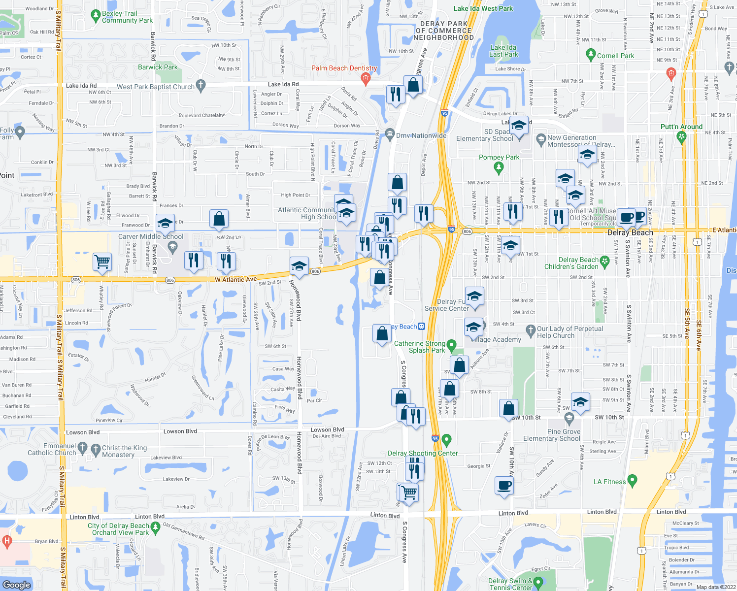 map of restaurants, bars, coffee shops, grocery stores, and more near 200 Congress Park Dr in Delray Beach