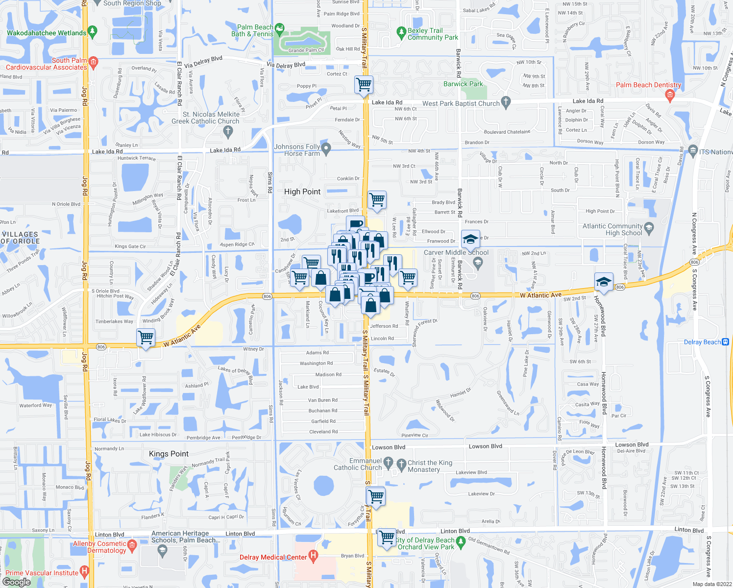 map of restaurants, bars, coffee shops, grocery stores, and more near S Military Trail & W Atlantic Ave in Delray Beach