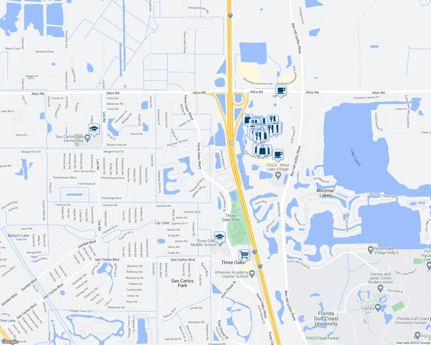 map of restaurants, bars, coffee shops, grocery stores, and more near 9530 Roundstone Cir in Fort Myers