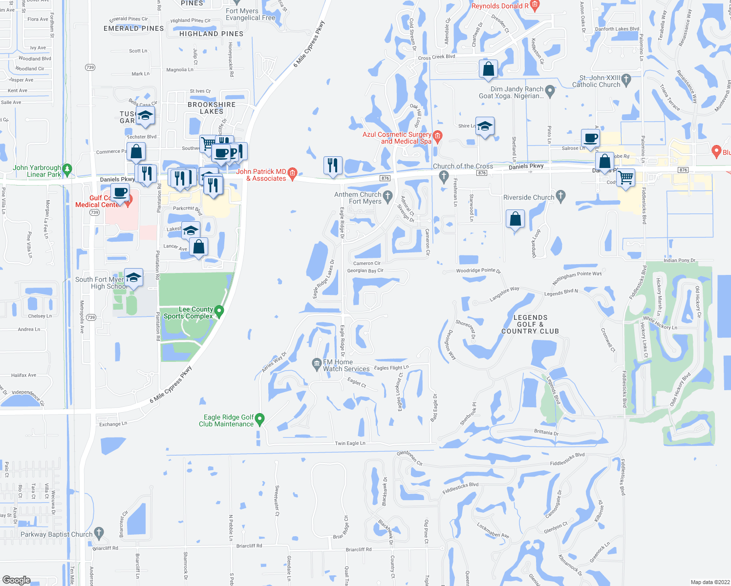map of restaurants, bars, coffee shops, grocery stores, and more near 14100-14190 Georgian Circle in Fort Myers