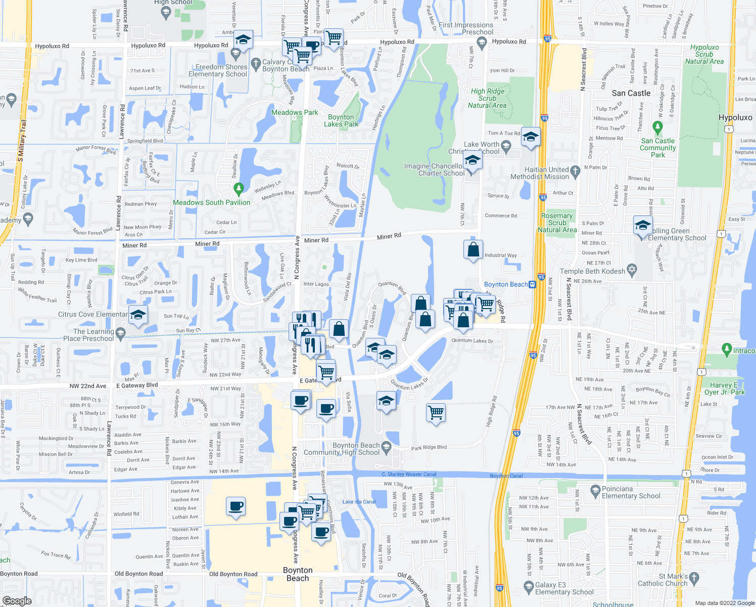 map of restaurants, bars, coffee shops, grocery stores, and more near 3166 North Greenleaf Circle in Boynton Beach