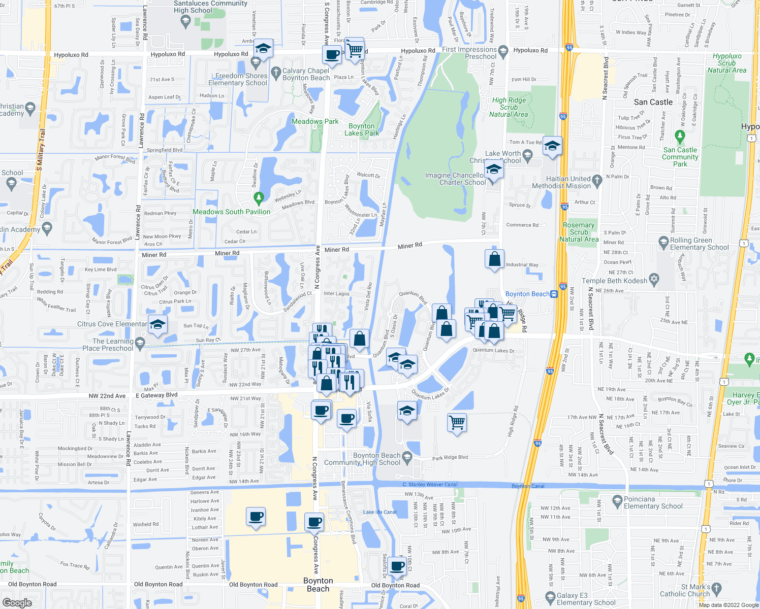 map of restaurants, bars, coffee shops, grocery stores, and more near 3005 North Evergreen Circle in Boynton Beach