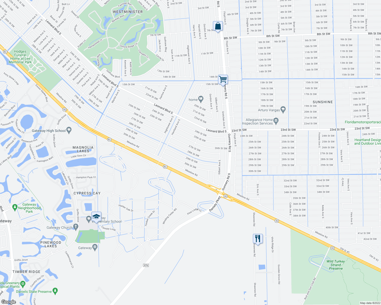 map of restaurants, bars, coffee shops, grocery stores, and more near 4413 28th St SW in Lehigh Acres