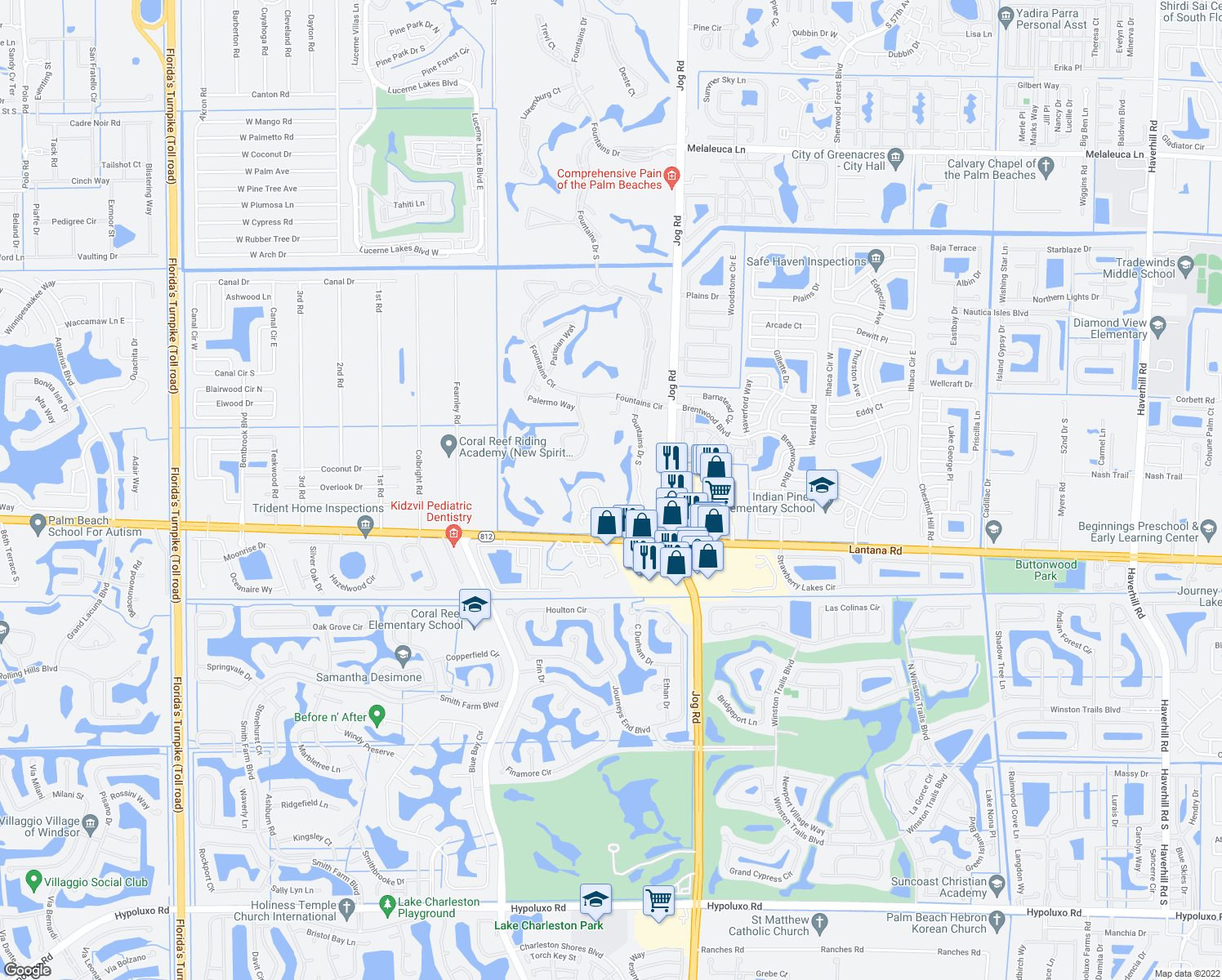 map of restaurants, bars, coffee shops, grocery stores, and more near 5689 Fountains Drive South in Lake Worth