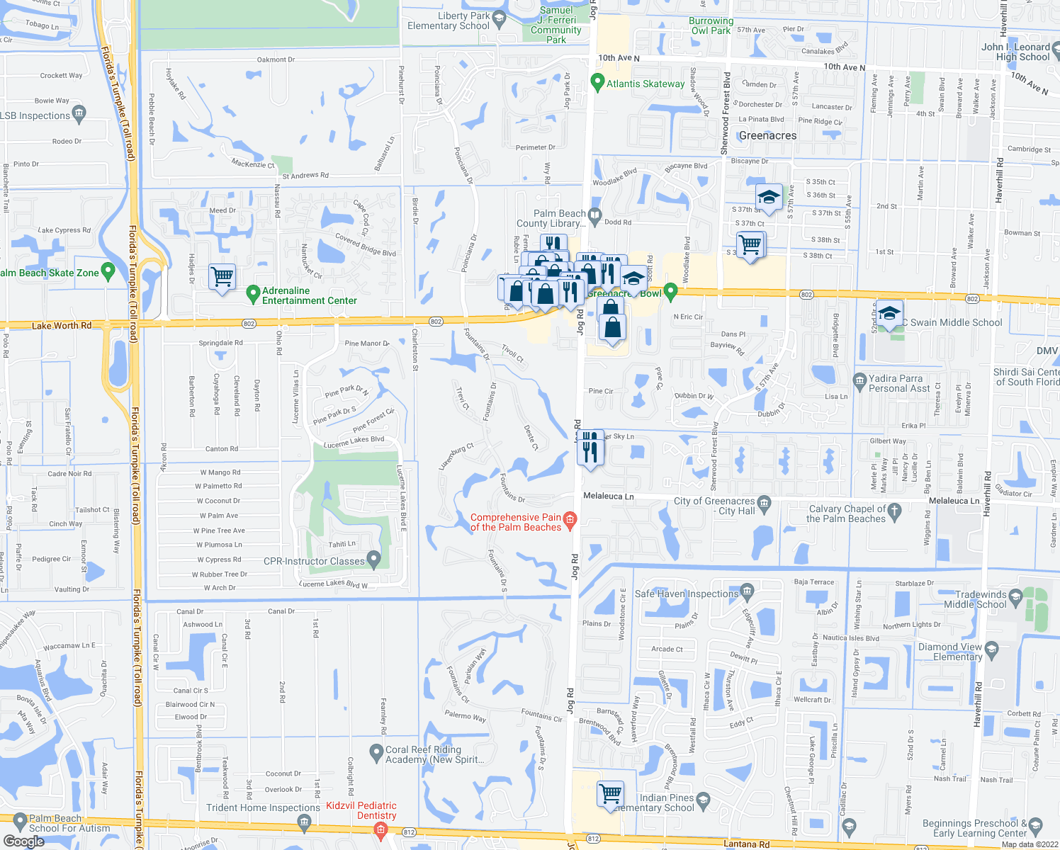map of restaurants, bars, coffee shops, grocery stores, and more near 4256 Deste Court in Lake Worth