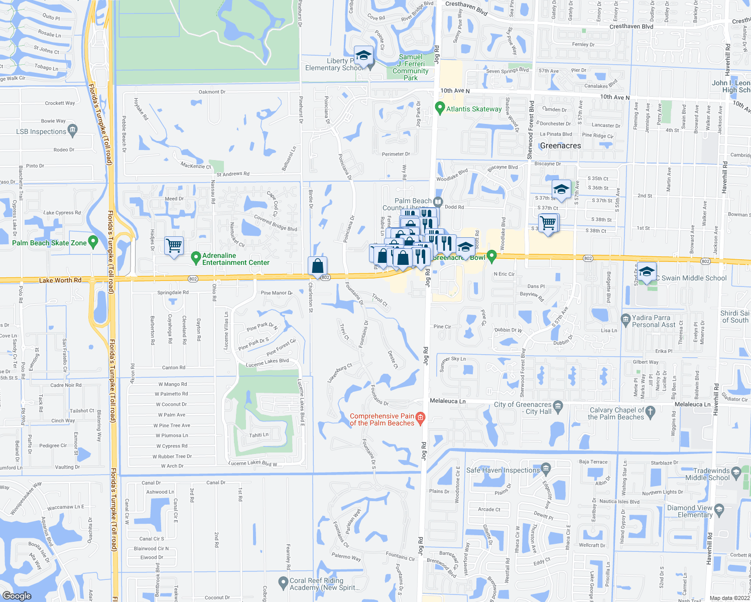 map of restaurants, bars, coffee shops, grocery stores, and more near 4100 Tivoli Court in Lake Worth