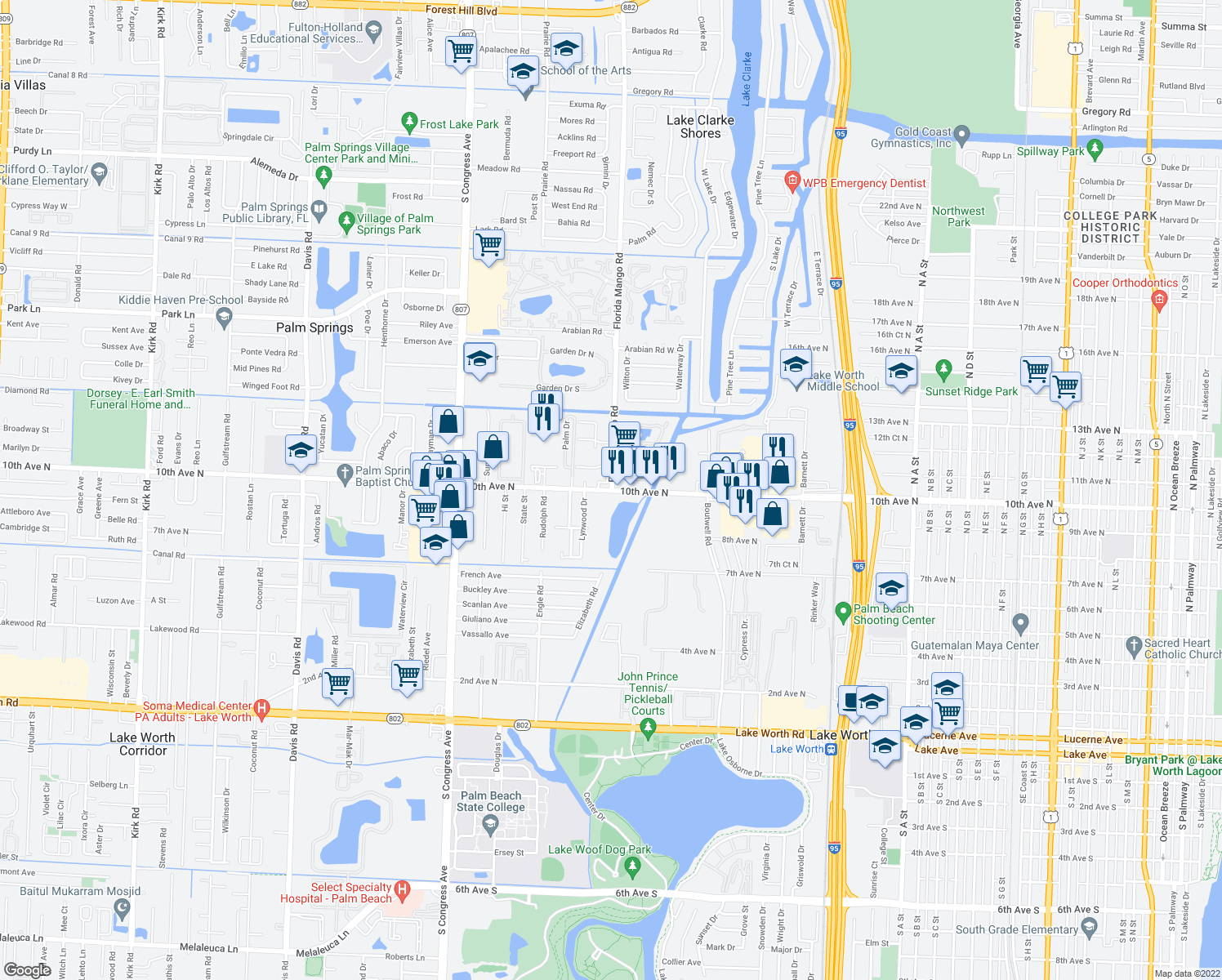 map of restaurants, bars, coffee shops, grocery stores, and more near 2601 Florida Mango Road in Lake Clarke Shores