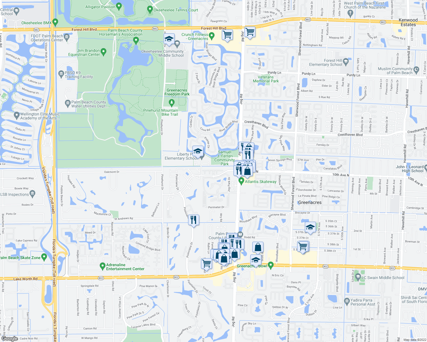 map of restaurants, bars, coffee shops, grocery stores, and more near 6636-6698 Constitution Way in West Palm Beach