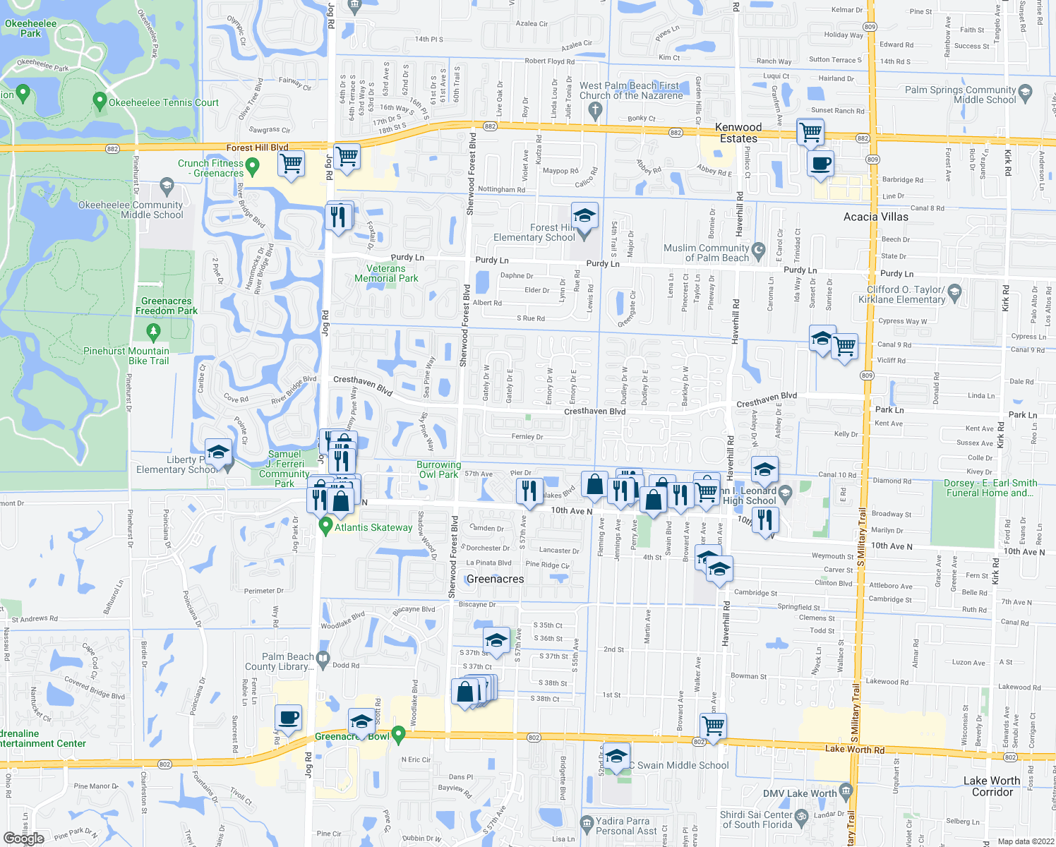 map of restaurants, bars, coffee shops, grocery stores, and more near 5769-5775 Fernley Drive West in West Palm Beach