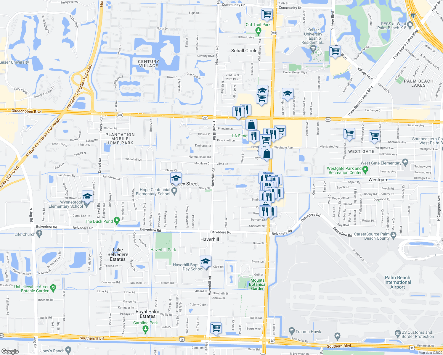 map of restaurants, bars, coffee shops, grocery stores, and more near 4970 Haverhill Commons Cir in West Palm Beach