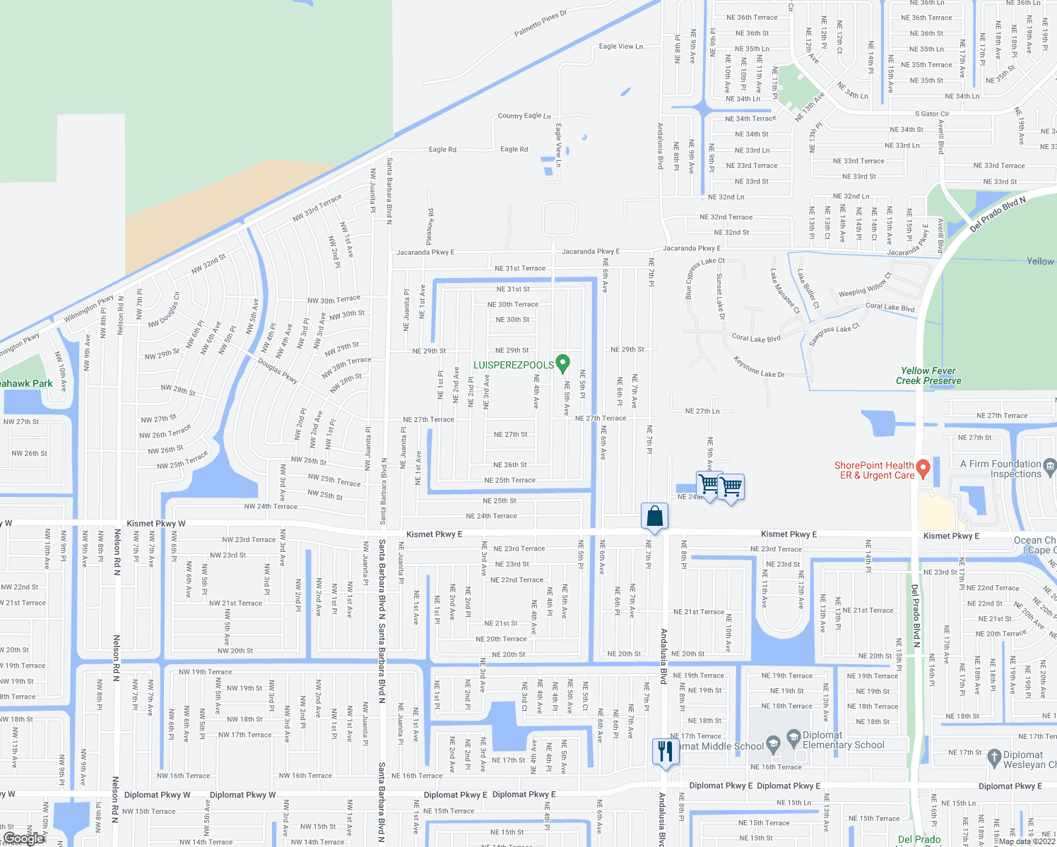map of restaurants, bars, coffee shops, grocery stores, and more near 344 Northeast 27th Terrace in Cape Coral
