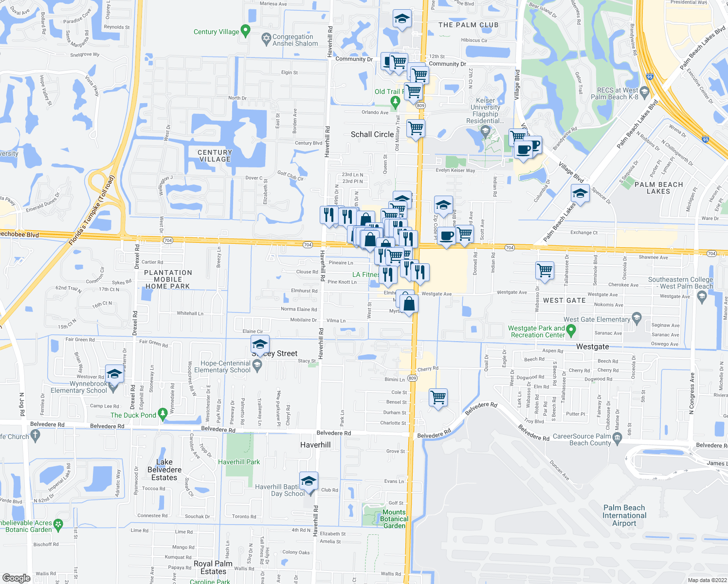 map of restaurants, bars, coffee shops, grocery stores, and more near 4900-4998 Elmhurst Rd in West Palm Beach