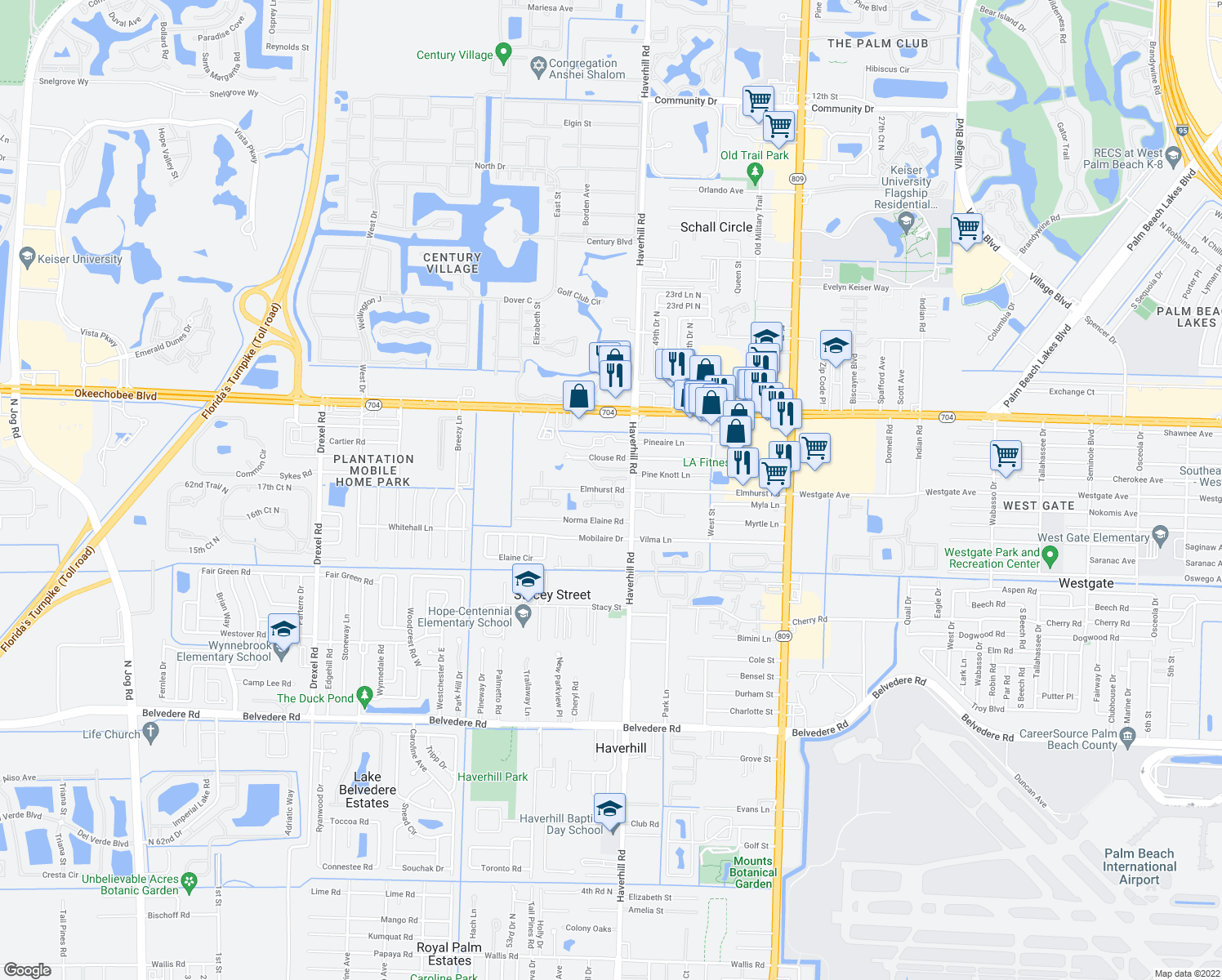 map of restaurants, bars, coffee shops, grocery stores, and more near 5100 Elmhurst Rd in West Palm Beach