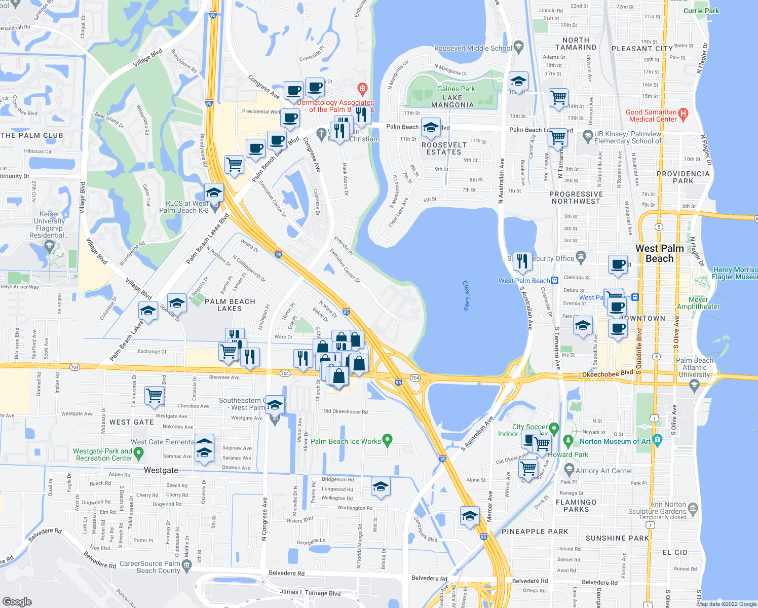 map of restaurants, bars, coffee shops, grocery stores, and more near 500 Executive Center Dr in West Palm Beach